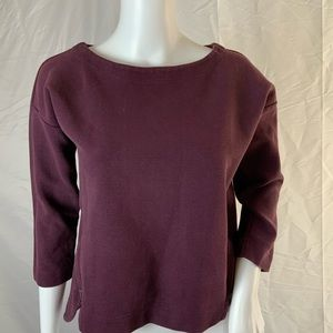 Madewell plum structured top with zipper detail